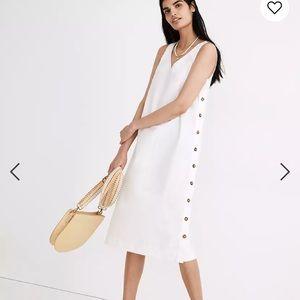 Madewell Linen-Cotton Side-Button Midi Dress NA269